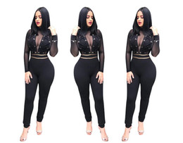 $enCountryForm.capitalKeyWord Australia - Fashion-Sexy Lace Two Pieces Coat and Pants Suit New Design Long Sleeves See Through Jacket High Waist Long Trousers Fashion Clothing Sets