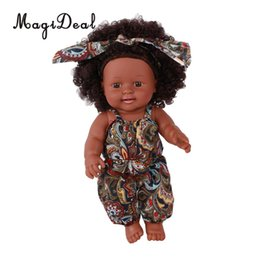 $enCountryForm.capitalKeyWord NZ - 12 Inch Real Life Baby Boy Doll Realistic Vinyl African Newborn Infant in Floral Overalls, Curly Hair