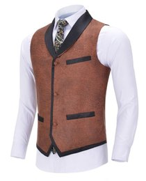 formal suits waistcoat UK - Men's Business Leather Vest Warm Gentleman Slim Fit Single-breasted Suit Vest Waistcoat For Wedding Formal Groomsmen