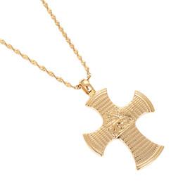 $enCountryForm.capitalKeyWord Australia - Ethiopia Coin Lion Cross Pendant Necklace for Women Men Gold Color Ethiopian Jewelry African Ethnic Gift
