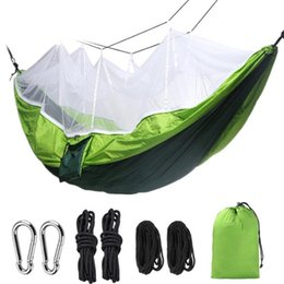 quick beds Canada - Hammock Outdoor Portable Outdoor Camping Hammock with Mosquito Net High Strength Parachute Fabric Hanging Bed Hunting Swing