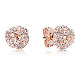 DiamonD stuD settings online shopping - 18K Rose Gold knot Stud Earring Original box for Pandora Silver Crystal CZ Diamond Earrings Set for Women Wedding Gift