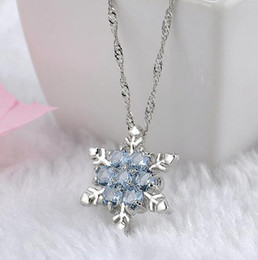 platinum chains for girls 2019 - Charm Vintage lady Blue Crystal Snowflake Zircon Flower Silver Necklaces & Pendants Jewelry gift for Women girls Wholesa