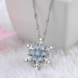 $enCountryForm.capitalKeyWord Australia - Charm Vintage lady Blue Crystal Snowflake Zircon Flower Silver Necklaces & Pendants Jewelry gift for Women girls Wholesale