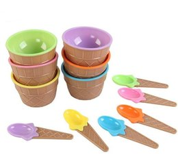 cute ice cream cups UK - New Plastic Ice Cream Bowls with Spoons Kids Cute Durable Dessert Cup Ice cream Cup 6 Colors