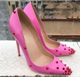 de26672853e5 New Rose Pink Lacquer Rivet Tip Fine-heeled High-heeled Shoes Shallow-mouth  Single Shoes 8cm 10cm 12cm large size 44 nightclub work dance