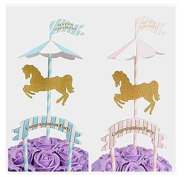 $enCountryForm.capitalKeyWord UK - Horse Unicorn Cake Topper Stand Unicorn Cupcake Wrapper Wedding Birthday Cake Decorating Tools 2 Colors Free Shipping