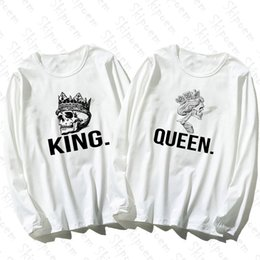 Wholesale couple tshirt long sleeves online – design Noble Couple Lovers King And Queen Women Tshirt Tumblr Kawaii Aesthetic Vintage Cotton Plus Size Long Sleeve Streetwear Top Tees