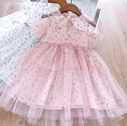 Lolita Flared Dress Australia - Girls falbala lapel flare sleeve lace tulle dress kids colorful polka dots printed princess dress summer children's day party dresses F6175