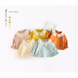 Branded Baby Kids Clothes Australia - Baby Girls T-shirt Kids Clothes 2019 Brand Children Hollow Out Lace Collar T Shirts for Girls Costumes Infant Girls Tops & Tees