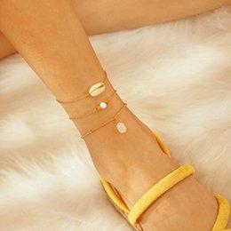 $enCountryForm.capitalKeyWord Australia - Charm Metal Chain White Beads Shell Pendant Multilayer Bracelet Set For Women Boho Adjustable Bangle C07409