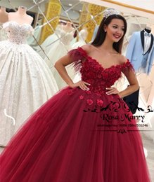 masquerade ball party images Canada - Red Sweet 16 Masquerade Quinceanera Dresses 2019 Ball Gown Off Shoulder Beaded 3D Floral African Vestidos 15 Anos Plus Size Prom Party Gowns
