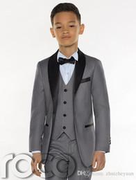 Cheap Suits For Kids Australia - Three Pieces Grey Boys Tuxedo 2019 Cheap Custom Made Boys Dinner Suits Boys Formal Suits Tuxedo for Kids Tuxedo(Jacket+pant+vest+tie)