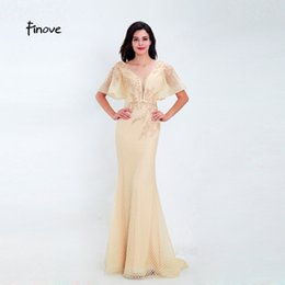 $enCountryForm.capitalKeyWord NZ - Finove Evening Dress Long 2019 New Party Dress Champagne Chic Cap Sleeves Sexy Deep V Neck Woman Clothing Prom Dress Gowns Plus Size