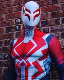 spider man cosplay zentai UK - 2099 Miguel O'Hara Spider-Man cosplay Super hero Spiderman Costumes Fullbody Zentai Suit Adult man spiderman Jumpsuit Rompers