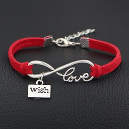 $enCountryForm.capitalKeyWord NZ - Vintage Silver Color Infinity Love Wish Brand Charm DIY Jewelry For Women Men 2018 New Red Leather Suede Female Bracelets & Bangles Pulseras