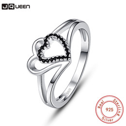 $enCountryForm.capitalKeyWord Australia - wholesale Authentic 100% 925 Sterling Silver Lovely Hollow Heart Black Color CZ Finger Ring For Women Wedding Engagement Jewelry