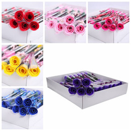 Wholesale Cartoon Soaps Australia - Artificial Soap Flowers Rose Valentine's Day Wedding Flower Party Gifts Home Hotel Decorations Wedding Cartoon Accessories CCA11575 100pcs