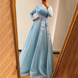 gown design photos pink UK - Muslim Blue Long Sleeves Evening Dresses Design Handmade Flowers Pearls A-Line Evening Gowns 2019 Arabian Prom Dresses