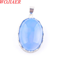 egg gifts Australia - WOJIAER Love Summer Egg Shape Decoration Blue Agates Stone Statement Suspension Charms Pendant Female Gift 18 Inches DN3674