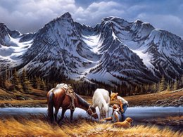 $enCountryForm.capitalKeyWord Australia - Landscape Art Couple And Horse Resting By The River,Oil Painting Reproduction High Quality Giclee Print on Canvas Modern Home Art Decor