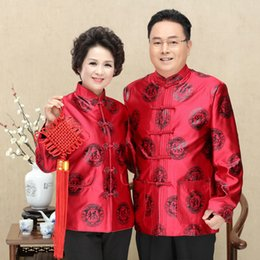 Tai Chi Clothing For Women UK - Tangsuit Tai Chi Clothing Birthday Traditional Chinese Clothing For Men Women Cheongsam Top Jacket Vintage Embroidery Style