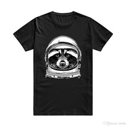 Cotton Crew Neck Australia - Personalized T Shirts Crew Neck Short-Sleeve Printing Raccoon Space Cap Retro Style Hipster Men's Cotton T-Shirt Shirt