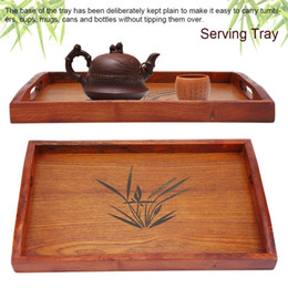 bamboo drink glasses UK - Meal Tea Drink Tray Wooden Breakfast Tea Tray With Handle Kitchen Catering Breakfast Service Kitchen Storage Organization