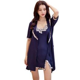 d9b4bcc8be Women Sexy Lace Silk Sleepwear Home Nightgown Robe   Gown Set Sleep Dress+ Bathrobe
