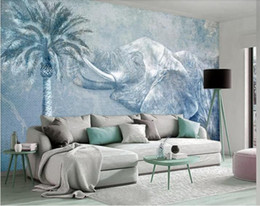 Bedroom Stereo Australia - Custom Any Size Murals Wallpaper 3D Stereo Tropical rainforest eleph Wall Painting Living Room TV Sofa Bedroom Backdrop Wall Papel De Parede