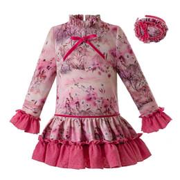 f2887ebb4 Pettigirl Spanish Aumtum And Winter Flower Kids Designer Clothes Girls Long  Sleeves Wedding Girls Dresses with Headwear G-DMGD106-B341