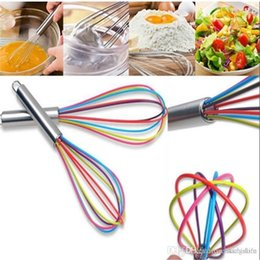 wholesale wire whisk UK - Kitchen Egg Frother Milk Beater Blender Colorful Silicone Balloon Wire Whisk Stainless Steel Whisk Mixer Kitchen Utensils New 20190413ayq