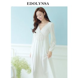 2c10969b5ff Autumn Vintage Nightgowns V-neck Ladies Dresses Princess White Sexy Sleepwear  Solid Lace Home Dress Comfortable Nightdress  h13 Q190420