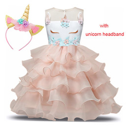 girls white transparent dress Canada - Unicorn Dresses For Party Princess Costumes Vestido Unicornio Layered Christmas Dress Kids Girls 3 5 6 8 Years Children Clothes MX190724