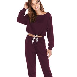 $enCountryForm.capitalKeyWord UK - Spring Women Sweatsuit Solid Color Drawstring Two-piece Set Tracksuit Girls 2 Piece Sets Ladies Outfits Female Homewear Hot Sale