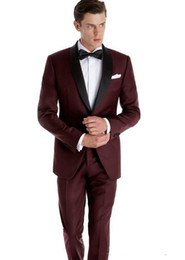 cheap blue tuxedos UK - Cheap And Fine One Button Groomsmen Shawl Lapel Groom Tuxedos Men Suits Wedding Prom Dinner Best Man Blazer(Jacket+Pants+Tie) A256