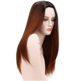 Women Medium Hair Australia - Hot selling natural straight medium brown long wigs for women 25 inch 100% synthetic hair elastic lace cap with hair net free shipping