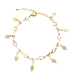 Anklets new designs online shopping - 2019 new niche design simple temperament crystal anklet female exquisite ankle European and American fashion jewelry