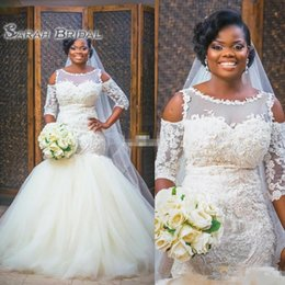 NigeriaN lace weddiNg styles online shopping - New Design African Style Ivory Wedding Dresses Nigerian Lace Applique Plus Size Illusion Neck Half Long Sleeve Bridal Wedding Gowns