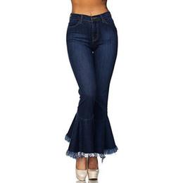 7887e5afbf6c ... de cintura alta Pantalones de estiramiento delgado Pantalones de  campana Jean mujer algodón lavado mezclilla Pantalones vaqueros de las  mujeres 2019