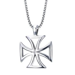 $enCountryForm.capitalKeyWord Australia - Steel Color Fashion Men's Cross Pendant Necklace Stainless Steel Link Chain Necklace Jewelry Gift for Boys Men J722