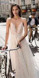 Discount shirt beach spaghetti wedding dress - Sexy Liz Martinez A Line Wedding Dresses With Belt Deep V Neck Sleeveless Lace Appliques Custom Made Garden Country Beac