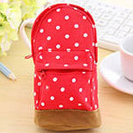 $enCountryForm.capitalKeyWord NZ - Hot Sale Polka Dot Print Canvas Kids Women Coin Purse Phone Bag Student Pencil Case Pen Pouch Small Bag Shape Key Ring