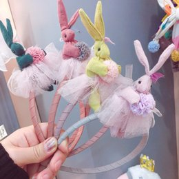 Hair Poms Wholesale Australia - Boutique ins 12pcs Fashion Cute Gauze Pom Pom Rabbit Hair Sticks Solid Lace Skirt Bunny Hairbands Princess Hair Accessories