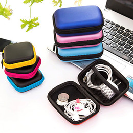 Plastic Carrying Hard Case NZ - LASPERAL Zipper Earphone Case Leather Earphone Storage Box Portable USB Cable Organizer Carrying Hard Bag For Coin Memory Card