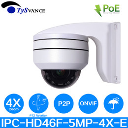 home plug cctv security cameras Canada - PoE HD 5MP IR Indoor Mini CCTV Security PTZ Dome Camera 5.0MP 4X Optical Zoom H.265 Onvif Home Surveillance IP Camera