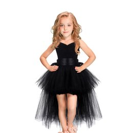 Halloween Balls Australia - Black Girls Tutu Dress Tulle V-neck Train Girl Evening Birthday Party Dresses Kids Girl Ball Gown Dress Halloween Costume 2-8Y