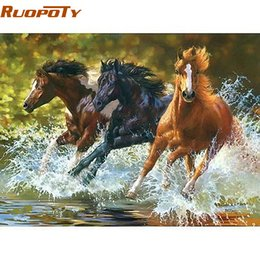 Painting horses modern art online shopping - RUOPOTY River Running Horse Animals Diy Digital Painting By Numbers Wall Art Modern Hand Painted Oil Painting For Home Decor SH190919