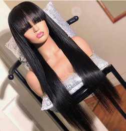 $enCountryForm.capitalKeyWord Australia - Unprocessed bangs virgin remy glueless human hair long natural color silky straight full front lace wig most popular for women