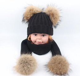 Hat Two Balls Australia - Real fur kids girls boys knitting hat scarf set with four double two raccoon pompoms ball cap beanie scarves suit